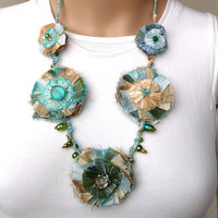 Fabric Necklace Turquoise Gold Silk Flower Fiber Necklace 5 Rosettes Fabric Jewelry Silk Hand Sewn Beads One of a Kind Unique Shabby Chic