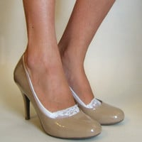 Lace Peep Socks - ivory - lacey sock - lace socks for heels pumps or flats (item no: 11-30)