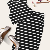 Mock-Neck Striped Top & Split Back Pencil Skirt Set