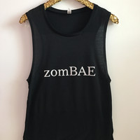 zomBAE - Muscle Tank -  Halloween Shirt - Ruffles with Love - Womens Fitness Clothing - Workout Tank