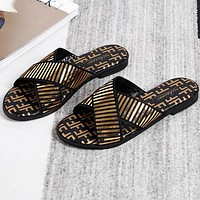 FENDI Summer Fashion Women Casual Sequins Flat Slipper Sandals Shoes Golden