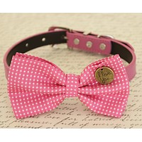 Hot Pink Dog Bow tie attached to collar, Dog gift, Pet accessory, Polka dots