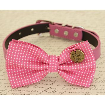 Hot Pink Dog Bow tie attached to collar, Dog gift, Pet accessory, Polka dots , Wedding dog collar