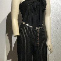 Women's Vintage Black Stretch Jumpsuit / Sleeveless Halter Top or Strapless Bow Tie / Sexy Bodycon Playsuit / Straight Leg One Piece Suit
