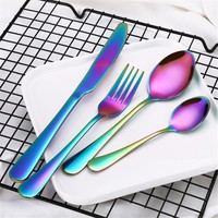 4 Pcs/set Rainbow Dinner Knife Fork Scoops Silverware