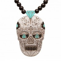 Day of the Dead Pendant  Grey
