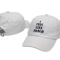 I FEEL LIKE PABLO Hat Kanye West Yeezy Yeezus THE LIFE OF PABLO Embroidered Cap White Fitted Trucker Sun Hat