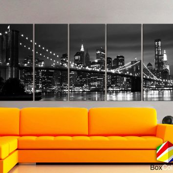 "XLARGE 30""x 70"" 5 Panels Art Canvas Print beautiful New York Brooklyn bridge skyline Black & White Wall Home (Included framed 1.5"" depth)"