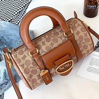 COACH New fashion pattern print leather shoulder bag crossbody bag handbag Brown
