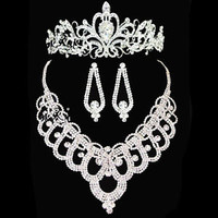 Wedding Bridal Necklace Earring Crown Sets Clear Crystal Rhinestone Jewelry A01