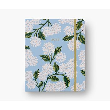 2022 Hydrangea Rifle Paper Co. 17-Month Covered Spiral Planner