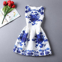 Florals Print Pleated Dress