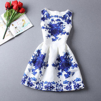 Blue Floral Party Dress