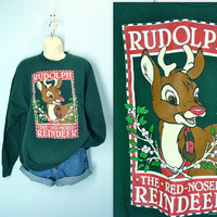 Rudolph Sweatshirt / Vintage Ugly Christmas Shirt / xl