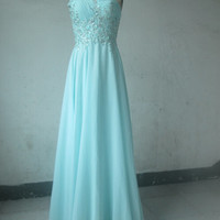 One-shoulder Prom Dresses Sexy Tulle Sheer Back Aqua Chiffon Beaded Sequins Appliques Long Court Train Women Formal Evening Gowns Cheap New