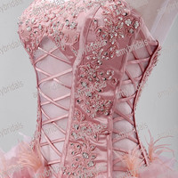 Hand-crafted Sweetheart Transparent Corset Short Front And Long Back Wedding Dress Wedding Gown