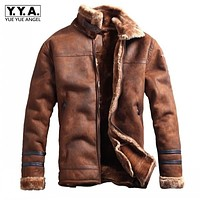 Winter Fashion Mens Stand Collar Coats High Quality Thick Fur Lining Jackets Suede Leather Warm Winter Jacket Vintage Coat