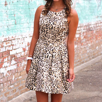 Leopard Jacquard Pleat Dress {Gold Black}
