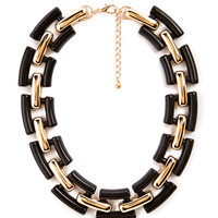 FOREVER 21 Chain Link Collar Necklace Black/Gold One