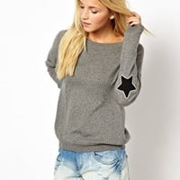 ASOS Jumper With Star Elbow Patch at asos.com