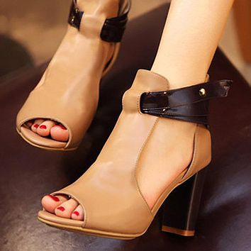 Spring New Style Big Size New Fashion High-heeled Sandals Woman Only one pair Khaki