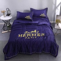 Purple Comfortable Soft HERMES Bedding Blanket Quilt Coverlet Pillow Shams 4 PC Bedding Sets Home Decor