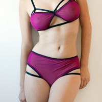 Kamaria Lingerie Set - radiant orchid mesh soft bra and panties with cutouts. custom made to fit your measurements