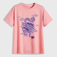 Fashion Casual Men Dragon Graphic Round Neck Tee