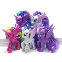 Pony Toys Horse in Action Figure 10CM Head can turn With Wings Vinyl Doll Toy Model PVC Doll For over 6 year Girls Gift Kids Toy