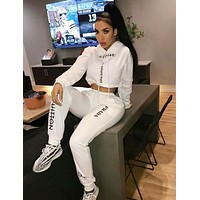 Louis Vuitton LV x PRADA x CELINE Fashionable Women Print Long Sleeve Top Pants Set Two-Piece Sportswear White