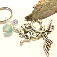 Mermaid Believer Gift, Mermaid Key Ring, Seafoam Green Seaglass Keychain Made With Swarovski Crystal Element  Beads