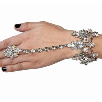 Crystal AB Embellished Hand Piece 1920's Great Gatsby Inspired