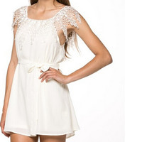 Sexy White Lace Slash Neck Dress