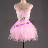 2014 short pink tullehomecoming gowns with rhinestones,chic cute dresses for cocktail party,cheap beaded prom dress hot.