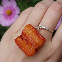 Bacon ring//Dangle Charm Ring, Food ring, Quirky ring, Silver ring, Dangle Ring, Charm Ring, Wire Ring, Wire Wrapped, Gift, Stackable