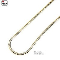 Jewelry Kay style Men's Solid 5 mm 14K Yellow Gold Plated Miami Cuban Link Chain Necklace 24""
