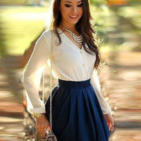 White Long Sleeve Front Button and High Waisted Cut-Out Mini Skirt Set