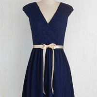 Mid-length Cap Sleeves A-line Champagne at Midnight Dress in Navy