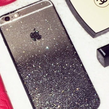 Black Gold Ombre Glitters Handmade Sparkle Fading Transparent Phone Case 5/5s/6/6s/6s plus for iPhone & Samsung s5/s6/s6 edge+ Clear