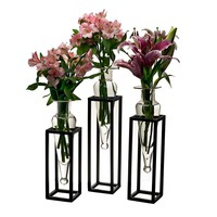 Danya B. Amphora 16-Inch Square Vases with Metal Stands (Set of 3)