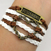 Heart bracelet best friend bracelet antique bronze charm brcelet brown wax cord and white leather braid bracelet best gift-Q640