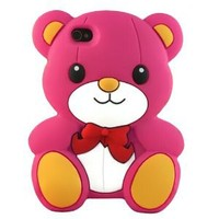 Hot Pink 3D Teddy Bear Design Soft Silicone Skin Gel Cover Case for Apple Ipod Touch 4 Itouch 4