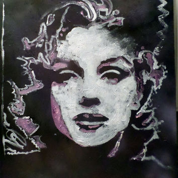 Large Painting Wall Decor - Expressionist Pop Art - Original Painting of Marilyn Monroe - Acrylic Painting on Canvas - Home Wall Art Decor