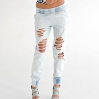 Distressed Denim Joggers - The Snooki Shop