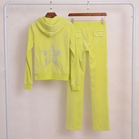 Juicy Couture Star Juicy Icon Velour Tracksuit 2pcs Women Suits Yellow