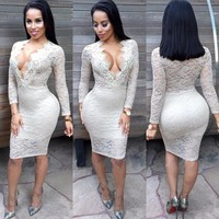 Fashion Bodycon Deep V-Neck Long Sleeve Perspective Hollow Lace Mini Dress