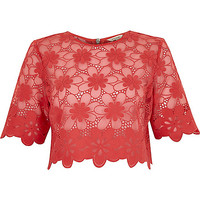 River Island Womens Coral floral lace crop t-shirt