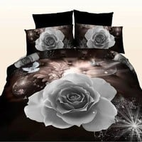 White Rose 3D Oil Painting Duvet Cover Set, Bedding Set 4PCS Comfort Cover Set Home&Living Bed Sheet Pillowcases Quilt Cover (Si