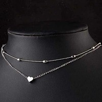 Fashion Casual Heart Detail Layered Chain Necklace