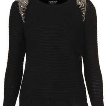 Knitted Crystal Shoulder Sweat - New In This Week  - New In